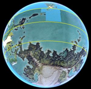 DereGlobus - Uthuria im ursprünglichen Maßstab