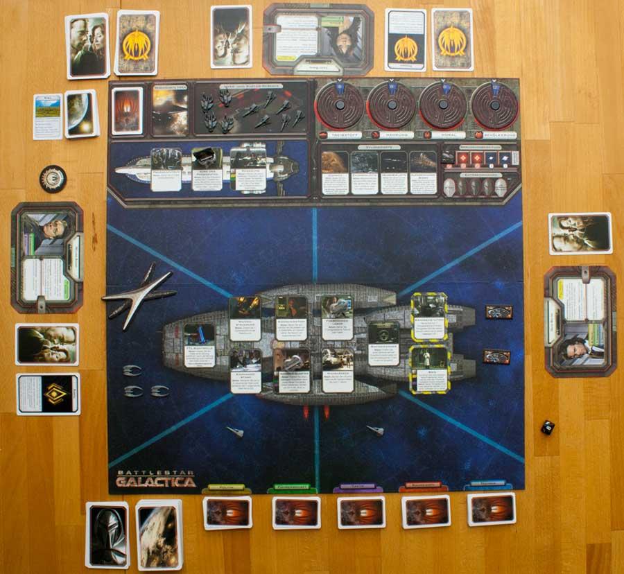 Ein Blick auf Spielfeld von Battlestar Galactica