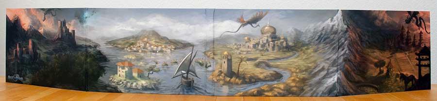 Der Spielleiterschirm für Splittermond mit der Panorama-Collage